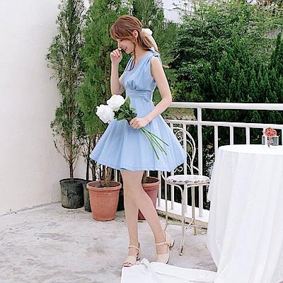 婚禮系列~蝴蝶結肩飾純色交叉V領傘襬洋裝-OB大尺碼