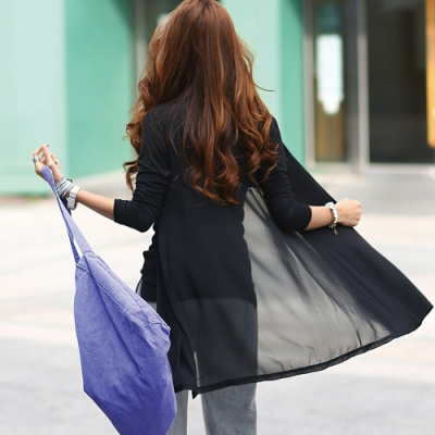 正韓 素色拼接雪紡透視款開衫外套 (共二色)-N.C21