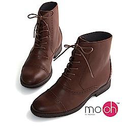 mo.oh-全真皮-粗跟綁帶牛皮鏤空短靴-棕色