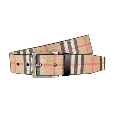 Burberry 復古金屬銀扣格紋設計帆布皮帶(米格紋/銀扣)