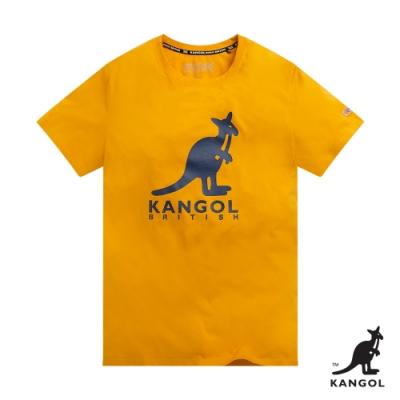 【KANGOL】經典LOGO圓領短袖T恤-女-黃