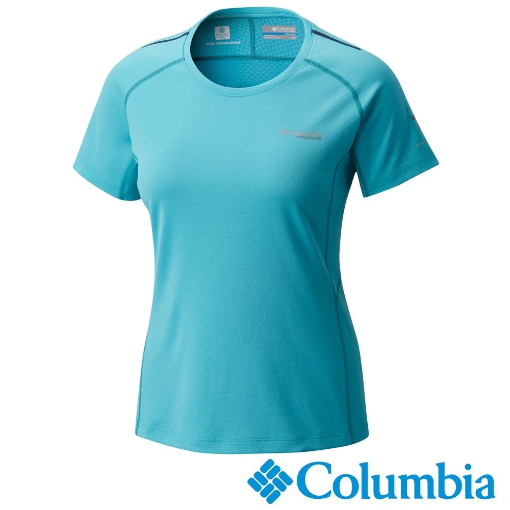Columbia 哥倫比亞女款-鈦 防曬15涼感快排短袖上衣-湖水藍 AR19820