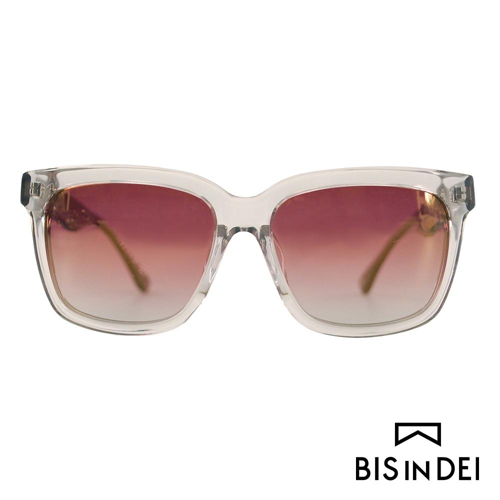 BIS IN DEI 撞色大方框太陽眼鏡-透明灰