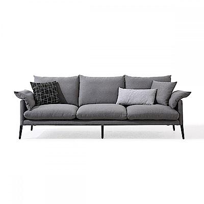 hoi! 輕奢現代可拆洗北歐三人布沙發(附抱枕)RAG1K-中灰色 (H014207771)