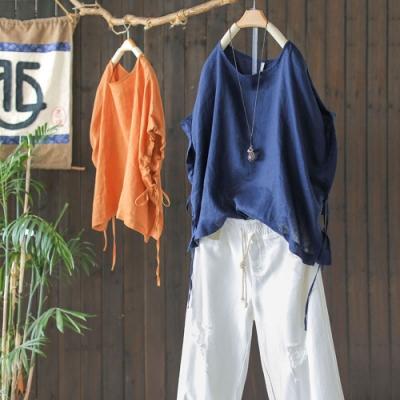 復古亞麻袖口繫帶T恤寬鬆大碼顯瘦短袖上衣-設計所在