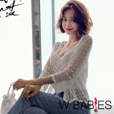 正韓 網狀鏤空蕾絲開襟短版罩衫 (共二色)-W BABIES