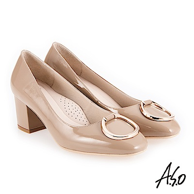 A.S.O 義式簡約 立體釦飾鏡面真皮高跟鞋 卡其
