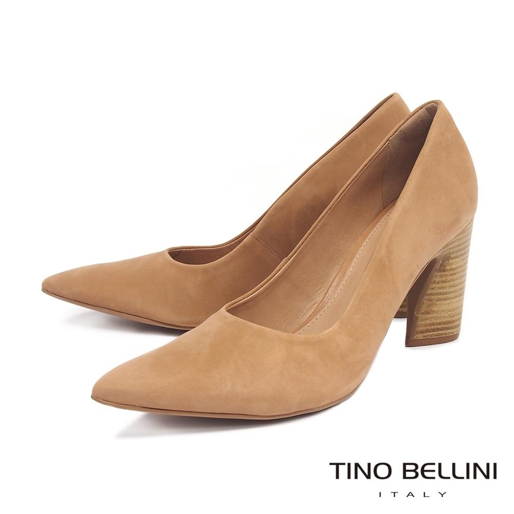 Tino Bellini 巴西進口啞光質感牛麂皮粗跟鞋_駝