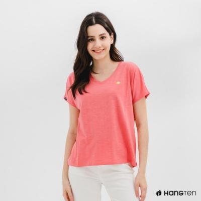 Hang Ten-女裝-有機棉寬鬆V領刺繡短袖T恤-粉紅