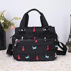 CABACI 淘氣小貓繡線多隔層手提斜背二用包