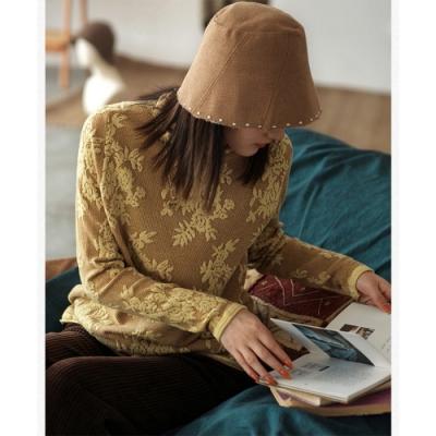 提花高領針織衫堆堆領毛衣三色可選-設計所在