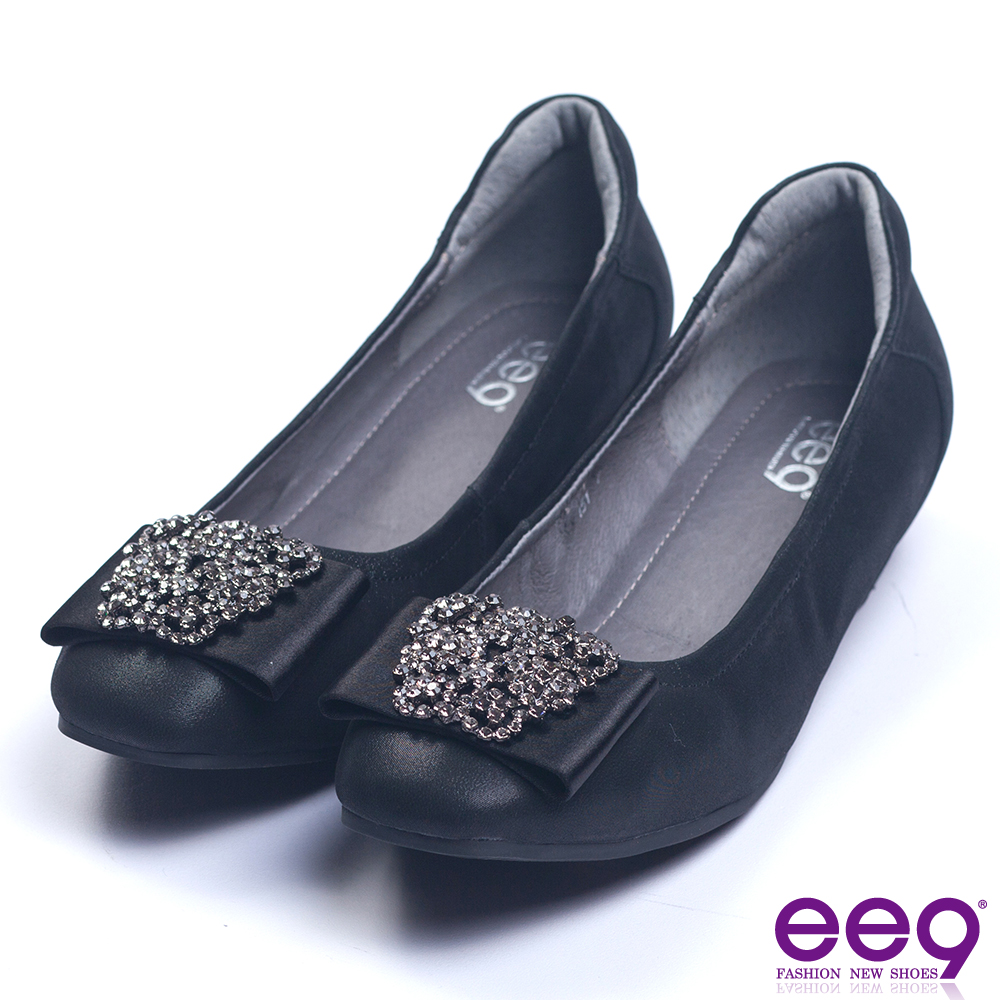 ee9 璀璨奢華經典百搭內增高娃娃鞋 黑色