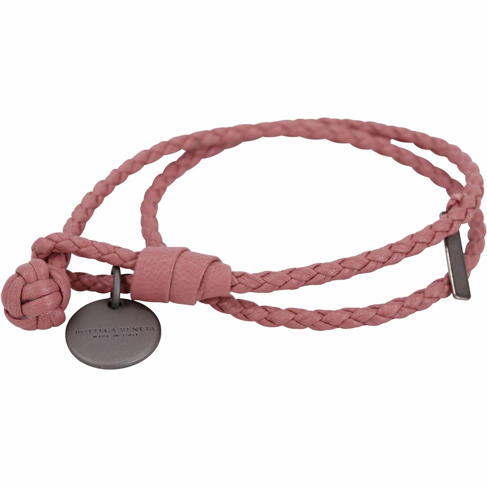 BOTTEGA VENETA 編織小羊皮雙圈手環(玫瑰粉)