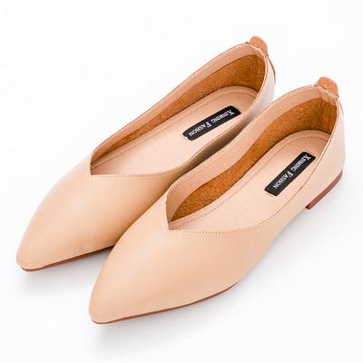 River&Moon中大尺碼-超纖素面Q軟橡膠平底尖頭鞋-棕