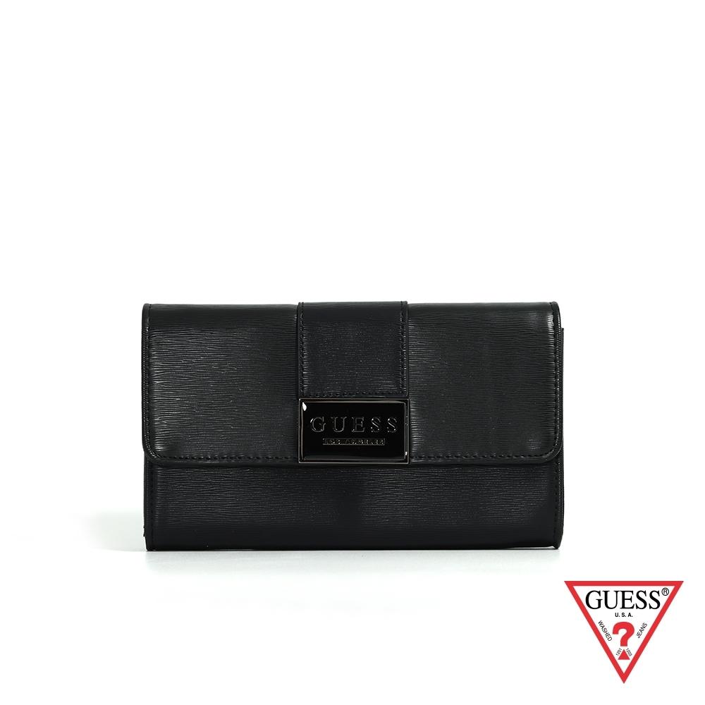GUESS-女包-素面簡約LOGO長夾-黑 原價1690