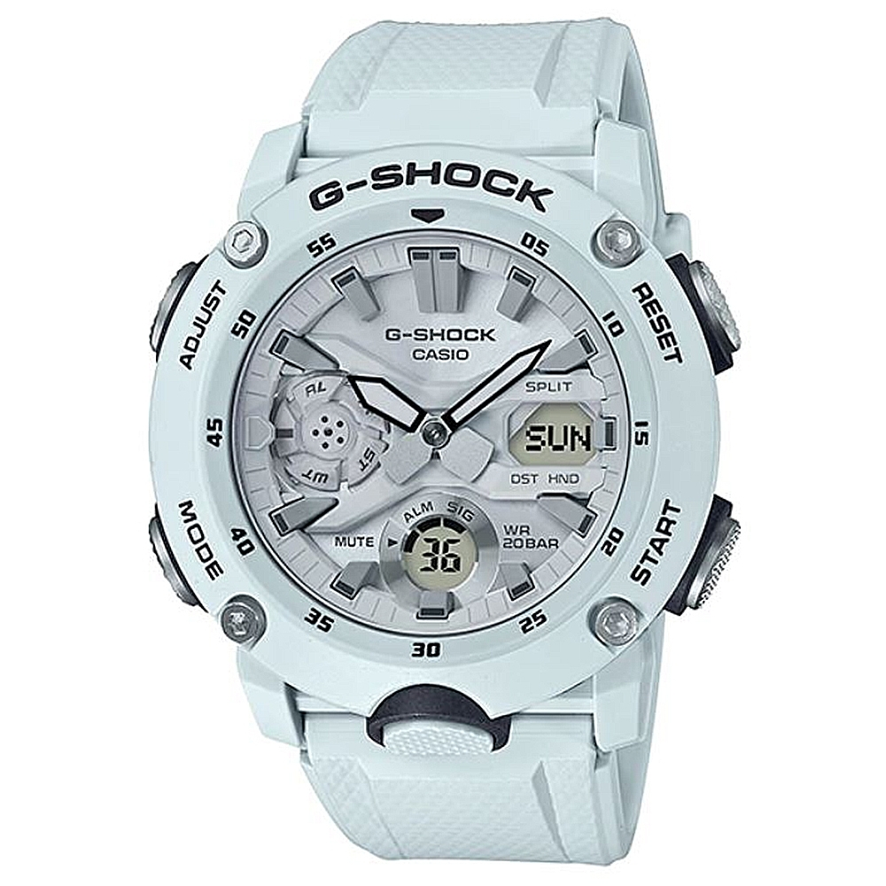 G-SHOCK 引領潮流碳纖維防護設計休閒運動錶-淡藍白色(GA-2000S-7A)51.2mm