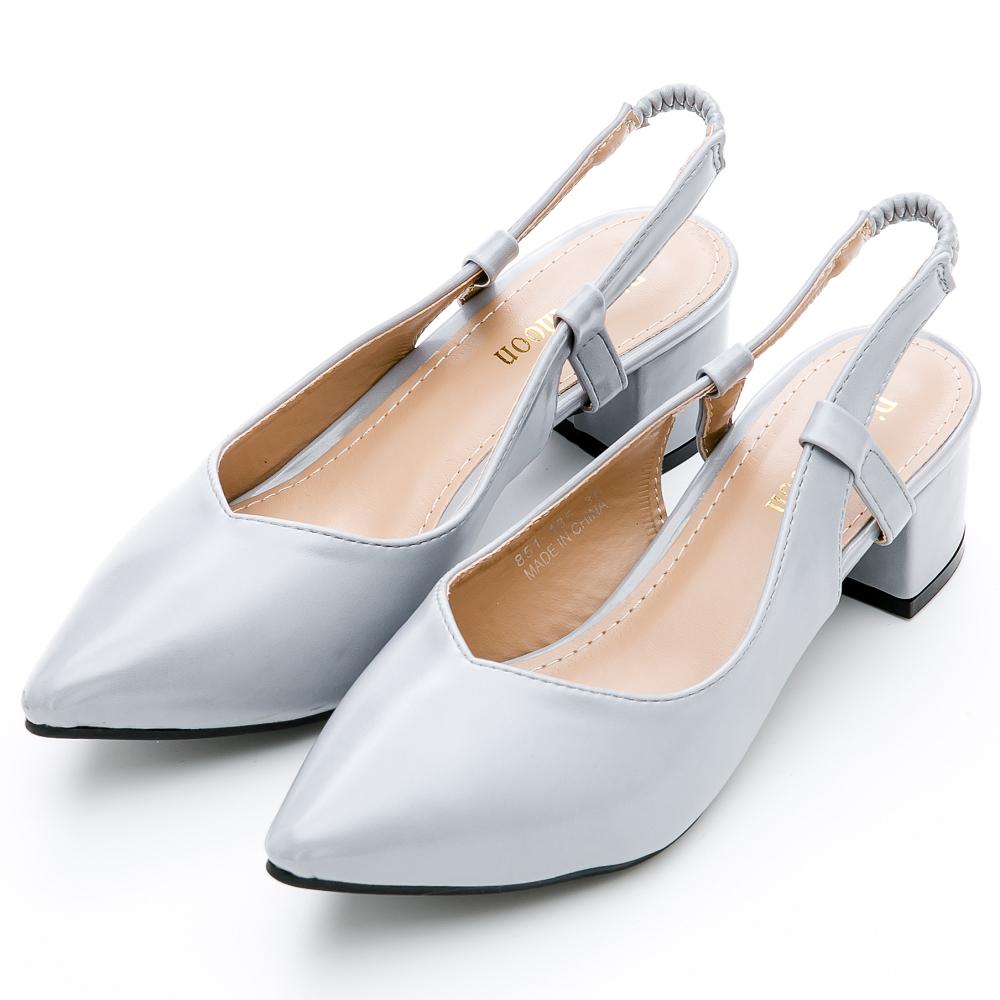 River&Moon大尺碼-輕熟時尚後拉帶尖頭粗跟鞋-灰藍