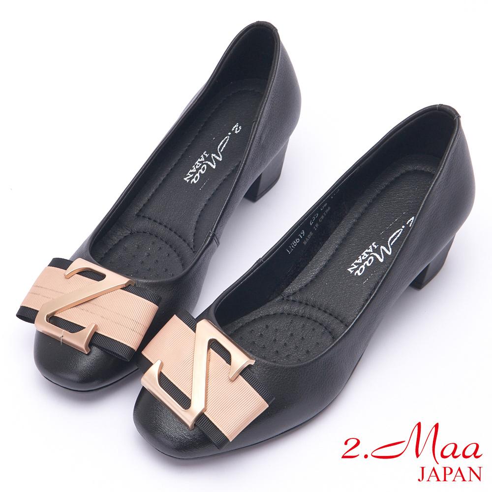 2.Maa 氣質素面牛皮方釦平底娃娃鞋 - 黑