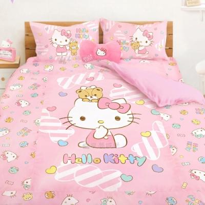 享夢城堡 雙人加大床包涼被四件組-HELLO KITTY 糖果熊-粉.綠