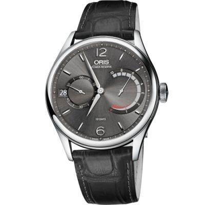 Oris Calibre 111 十日動力儲存手動上鏈機械腕錶-灰x黑/43mm