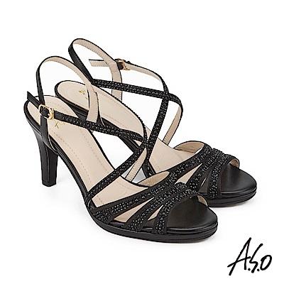 A.S.O 炫麗魅惑 緞布水鑽奈米高跟鞋 黑色