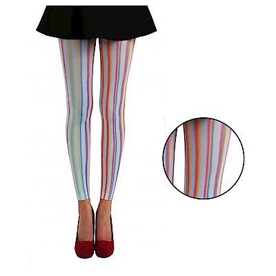 摩達客 英國進口義大利製Pamela Mann 糖果彩色直條紋彈性九分襪/無足褲襪/內搭褲