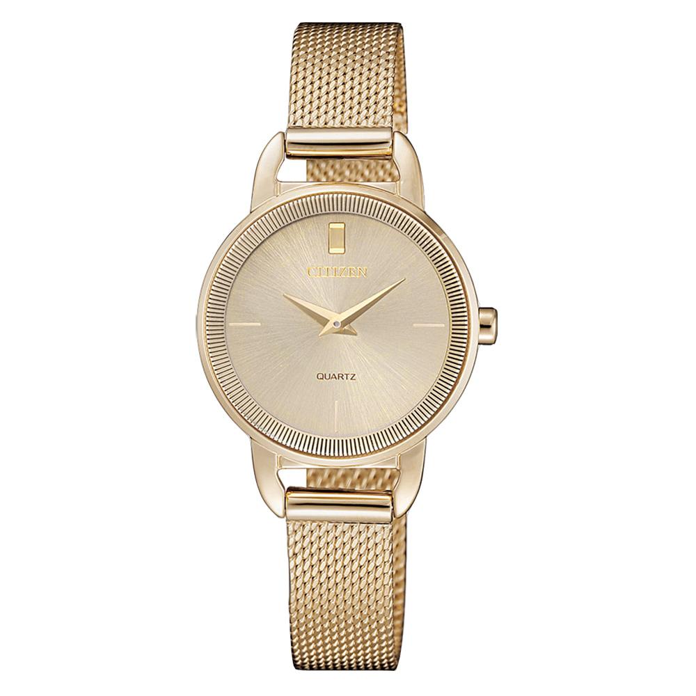CITIZEN LADY S簡約奢華時尚米蘭腕錶-金(EZ7003-51X)/26mm