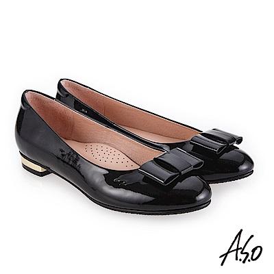 A.S.O 個性都會 高質感奢華鏡面平底鞋 黑