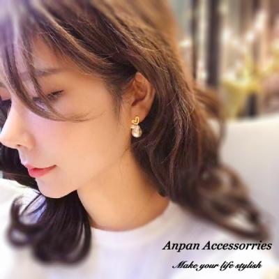 【ANPAN愛扮】韓東大門氣質甜美愛心心型珍珠串925銀針耳釘式耳環