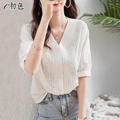 初色  別緻蕾絲V領襯衫-白色-(M-2XL可選)