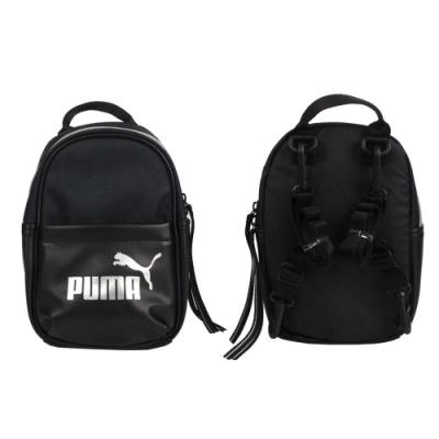 PUMA 小型後背包-雙肩包 肩背包 側背包 07747901 黑銀