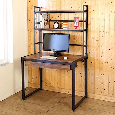BuyJM 工業風防潑水98公分附書架插座工作桌-DIY