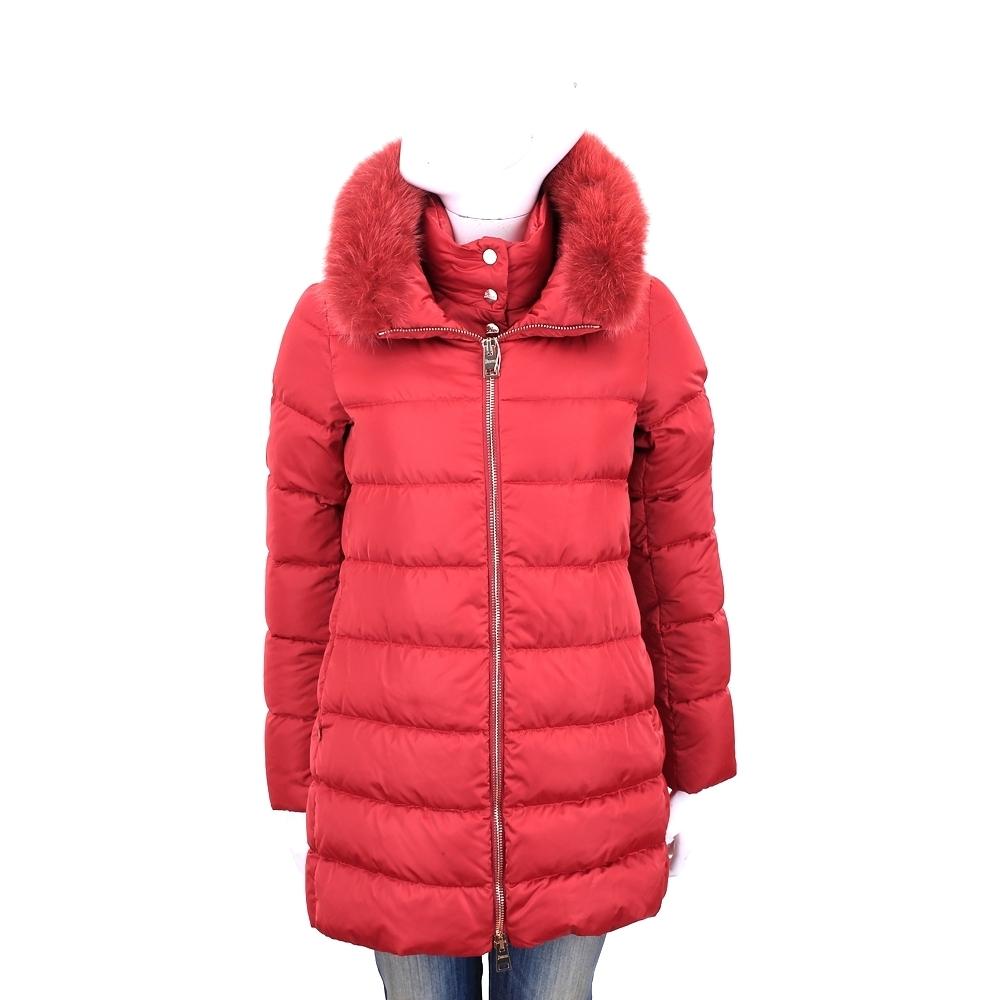 HERNO 紅色絎縫假兩件設計羽絨外套(前釦立領衣片與毛領皆可拆)
