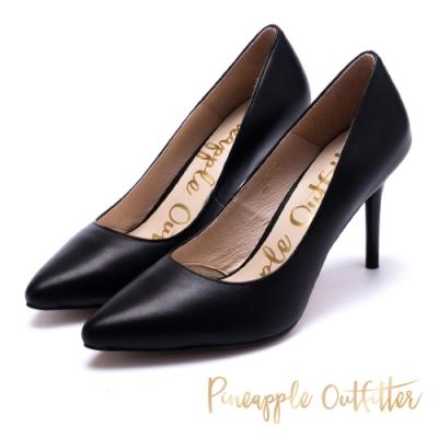 Pineapple Outfitter 優雅女士 真皮素面尖頭高跟鞋-黑色