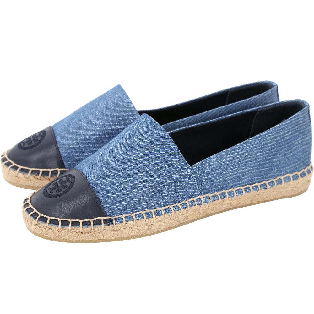 TORY BURCH Color-block 單寧布面拼接設計麻編平底鞋