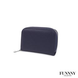 FUNNNY 真皮荔枝紋12卡 票卡夾/零錢包 中居 羽 靜謐藍