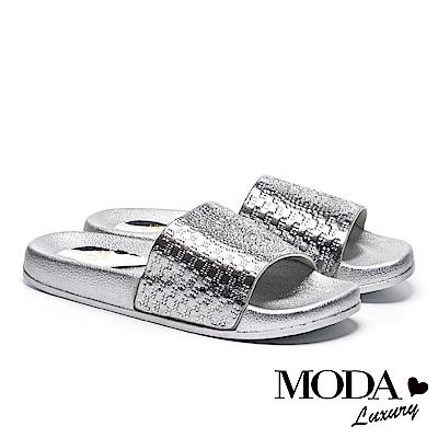 拖鞋 MODA Luxury 幾何方鑽民族風厚底拖鞋-銀