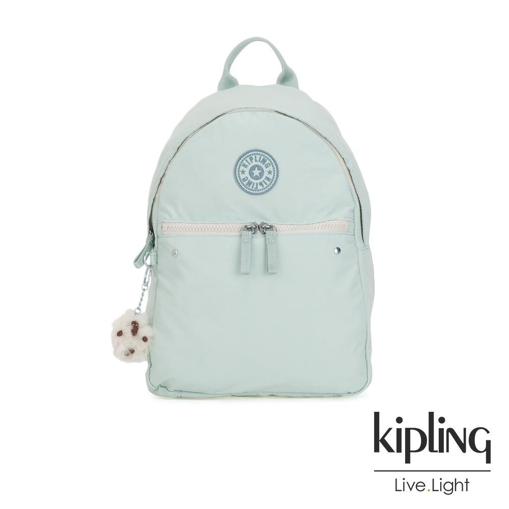 Kipling 清新薄荷綠大容量拉鍊後背包-ALBERTA