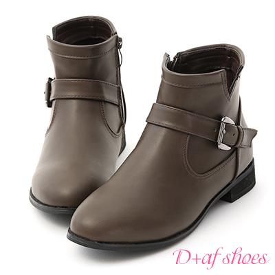 D+AF 率性指標.金屬雙釦環低跟短靴*灰