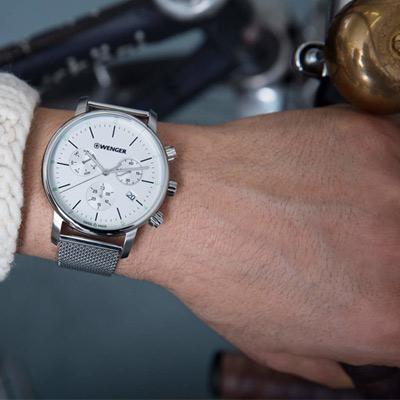 WENGER Urban 即刻獵殺計時腕錶(01.1743.106)白/44mm