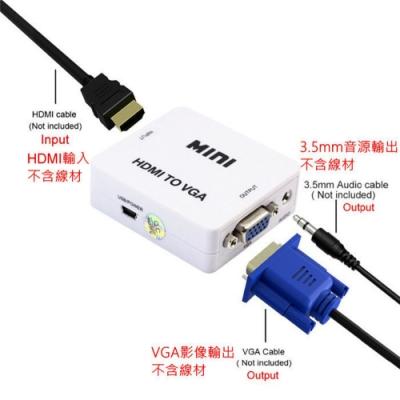 台灣晶片 HDMI轉VGA HDMI2VGA 轉接盒 選台器 機上盒 轉接 液晶 電腦螢幕