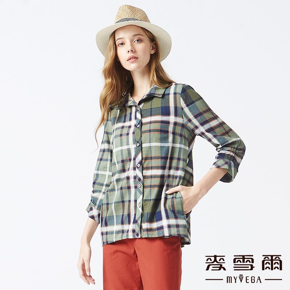 MYVEGA麥雪爾 純棉立體拼接格紋七分袖襯衫-綠