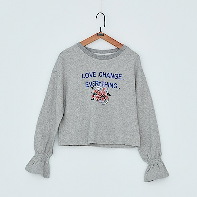 gozo Love change 文字印花落肩棉質上衣(二色)