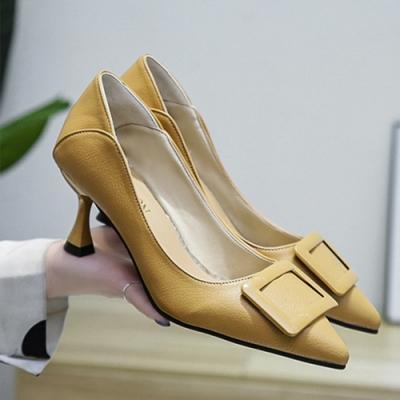 KEITH-WILL時尚鞋館 好評加碼英倫復古百搭尖頭細跟鞋-黃