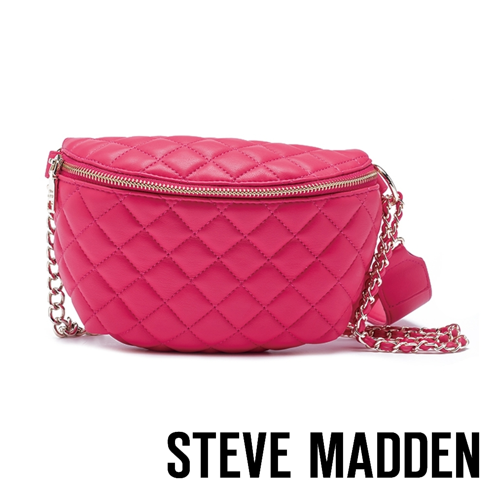 STEVE MADDEN-BMANDIE 注目亮眼色彩金屬鍊條菱格腰包-桃色