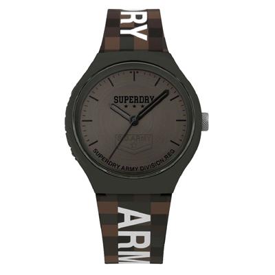 Superdry極度乾燥 迷彩馬賽克時尚腕錶-咖X黑(SYG251E)/43mm
