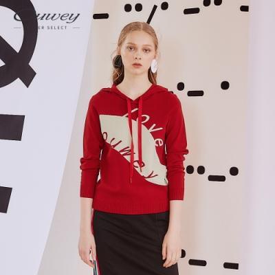 OUWEY歐薇 撞色字母緹花連帽針織上衣(紅/藍)