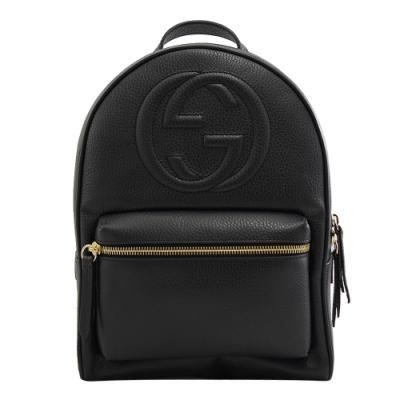 GUCCI SOHO系列GG LOGO牛皮拉鍊後背包(黑)