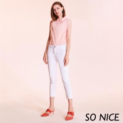 SO NICE都會時尚修身七分錦綿褲