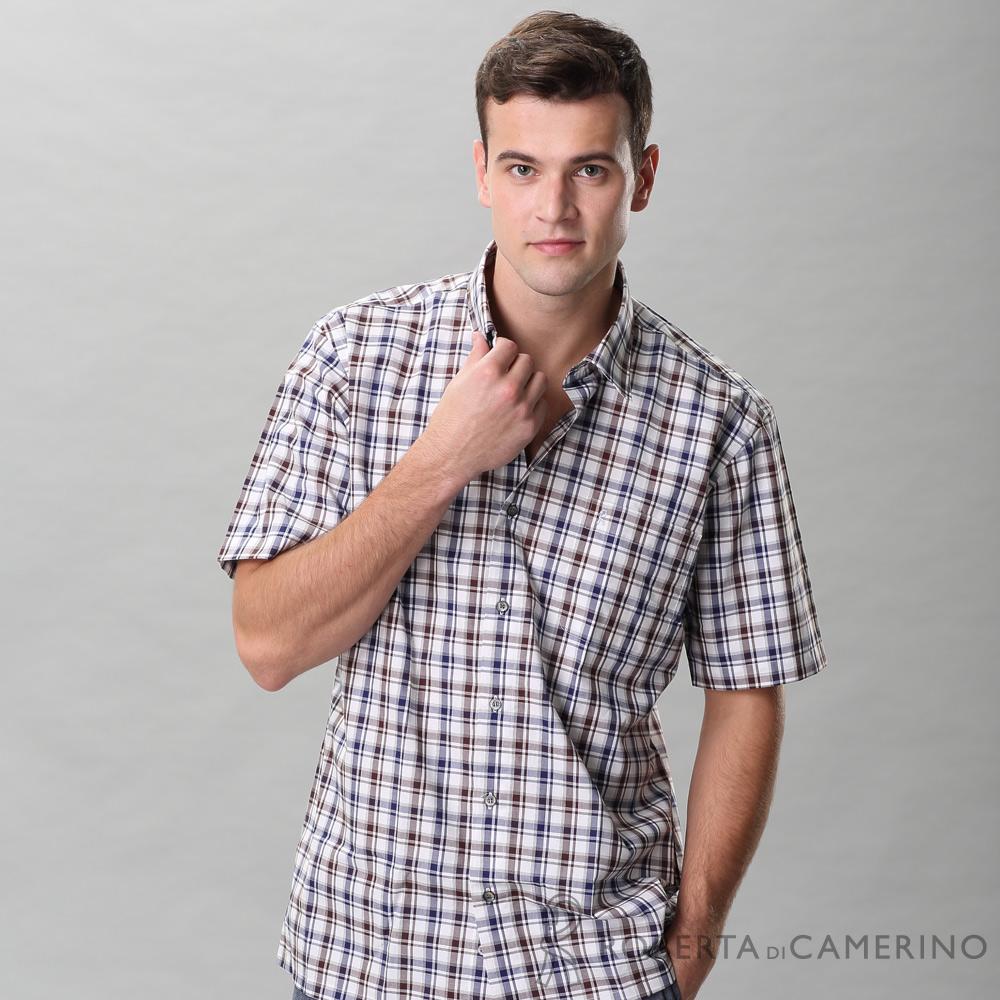 ROBERTA諾貝達 台灣製 進口素材 純棉時尚設計休閒配色 格紋短袖襯衫 咖啡